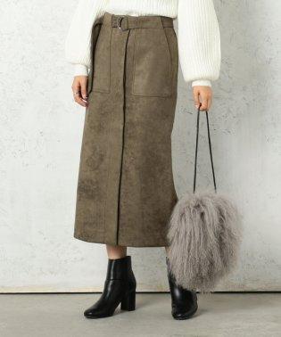 スウェードポンチベルト付きタイトスカート