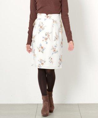 花柄レースアップタイトスカート