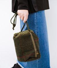 SUBLIME もこもこボア付き千鳥格子のアクセント巾着バッグ