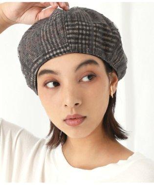 ドットチュールカバーチェックベレー帽