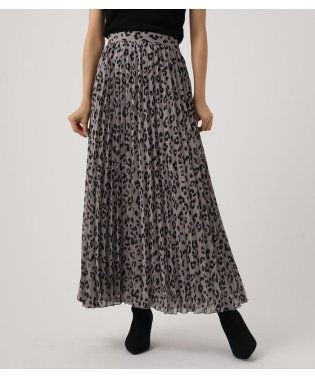LEOPARD PLEATS FLARED SKIRT