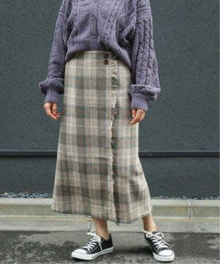 ビッグチェックラップ風スカート