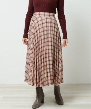 チェック柄総プリーツスカート