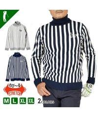 【COMON GOLF】12Gジャガード織りタートルネックボーダーゴルフセーター(CG-ST917SK)