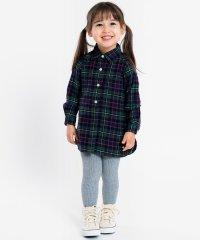 SHIPS KIDS:ネル チェック シャツ ワンピース(80~90cm)