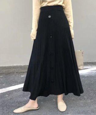 フロントボタンニットプリーツスカート