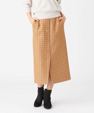【otonaMUSE12月号掲載】SMF ツイードチェック クリアボタン Iラインスカート