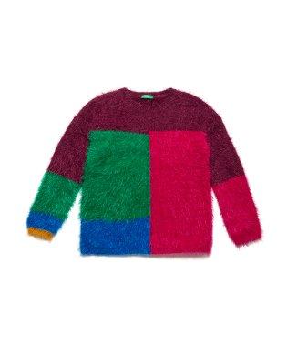 ヘアリーカラーブロックニット・セーター