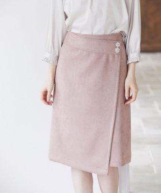 フラワービジュー付きラップタイトスカート