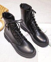 ショートブーツ レディース靴 ワークブーツ 厚底 靴 レースアップ バックジップ 太ヒール 美脚 黒