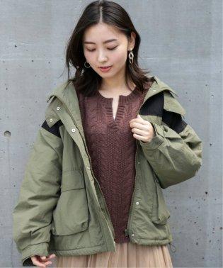 衿フード付き配色ショートモッズ