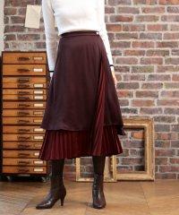リバーシブル サテン プリーツ スカート