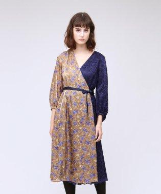 フラワーブロッキングドレス