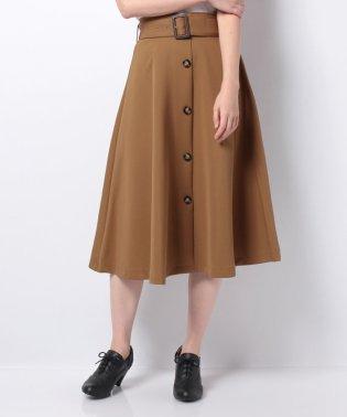 ベルト付きトレンチフレアスカート