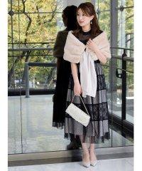 【ドレスライン】レース×ドットチュール袖付きドレス