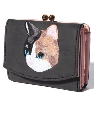 ネコ刺繍がま口ミニ財布