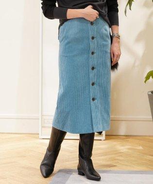 ワイドウェールコーデュロイ フロントボタンタイトスカート