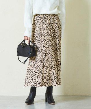 レオパード柄プリーツロングスカート