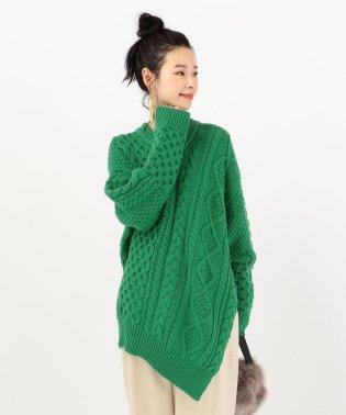 ADAWAS:Vネックアランニットセーター