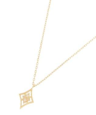 ダイヤモンド 透かしフチミル ひし形 ネックレス