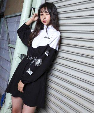 【ニコプチ掲載】ミニ裏毛ハーフジップ袖ロゴワンピース