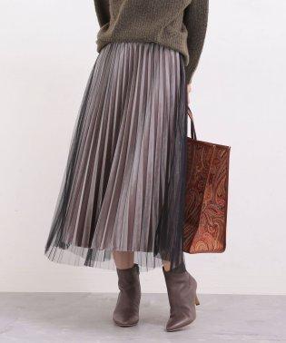 【WEB限定】チュール×ベロアコンビプリーツスカート