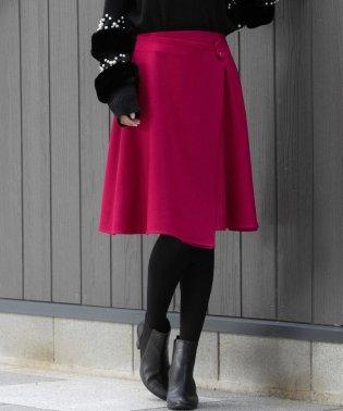 クルミ釦ラップ風フレアスカート