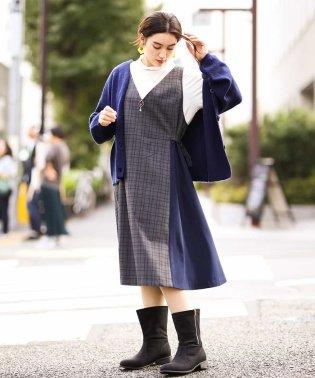 【大きいサイズ】異素材切り替えジャンパースカート