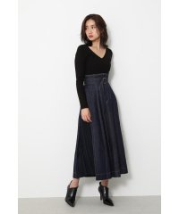 Side pleated denim long J/W SK