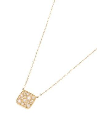 K18ダイヤモンド ランダムパヴェ スクエアネックレス