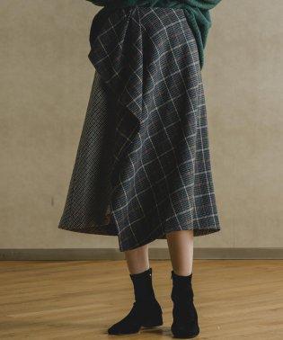 【socolla】チェック柄切り替えイレギュラーヘムスカート
