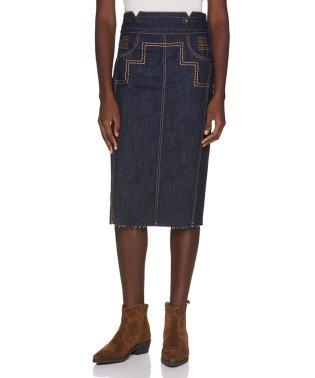 ステッチポイントデニム膝丈スカート
