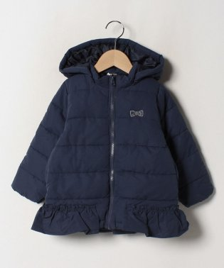 フード付き裾フリル中綿コート