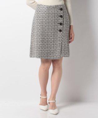 フロント釦ツイード台形スカート