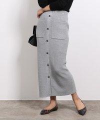 【セットアップ対応】フロントボタンニットスカート