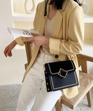 ベロアコンビ刺繍フレームショルダーバッグ
