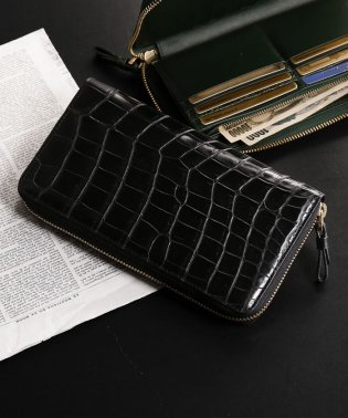 クロコダイルレザー長財布手帳型大きいサイズ