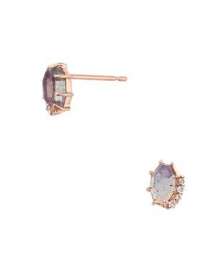 K10PG ダイヤモンド0.020 CT フェルスパー ピアス