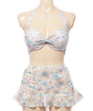 2点セット】フレアスカート付き花柄ビキニ ビキニ 花柄 フラワー 水着 体形カバー レディース スカート付き