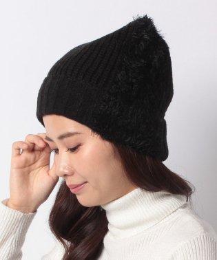 フェイクファーラインニット帽