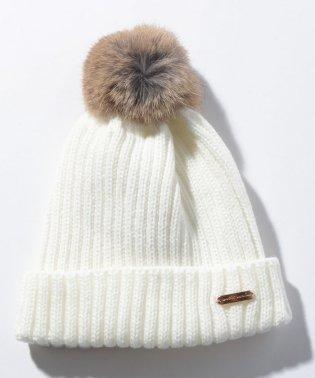 ラビットファーポンポンニット帽