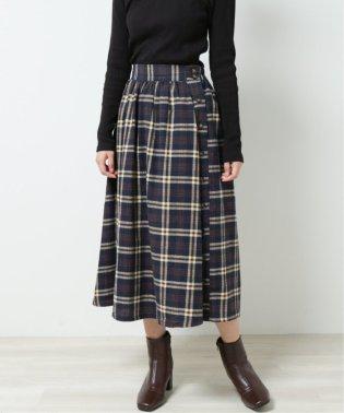 起毛チェックサイドボタンスカート