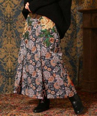 『Plumレースアップフラワージャガードタイトスカート』