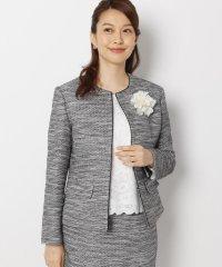 【My style is...掲載】【セレモニー・入卒】【34(SS)、42(LL)WEB限定サイズ】キャリーマンツイードカラーレスジャケット