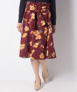 ・RAY 花柄ウエストリボンフレアースカート