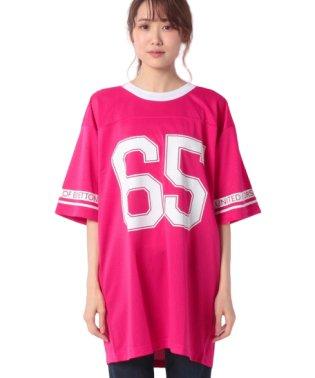 メッシュ切り替えナンバープリントビッグ半袖Tシャツ・カットソー