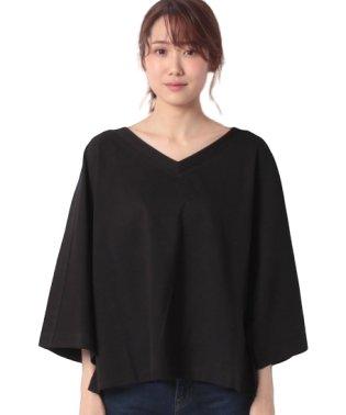 ショルダーラインVネックドルマン七分袖Tシャツ・カットソー