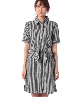 ヒッコリーシャツ型ワンピース