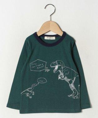 恐竜プリント長袖Tシャツ