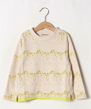 星と花プリント長袖Tシャツ
